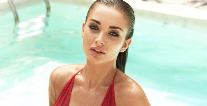 Amy jackson, hot model, wet body wallpaper