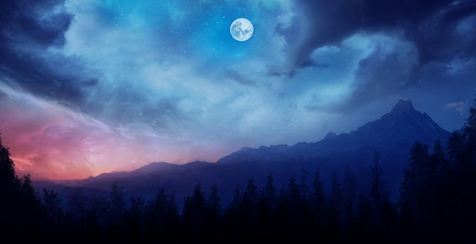 Best Wallpaper Night Fantasy - mountains-night-fantasy-clouds  HD-672858.jpg