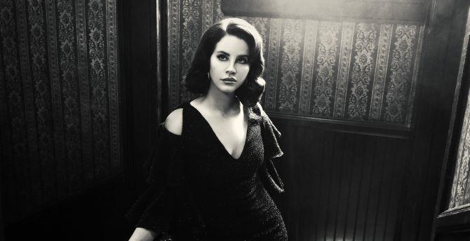 Desktop Wallpaper Black And White Lana Del Rey American Singer