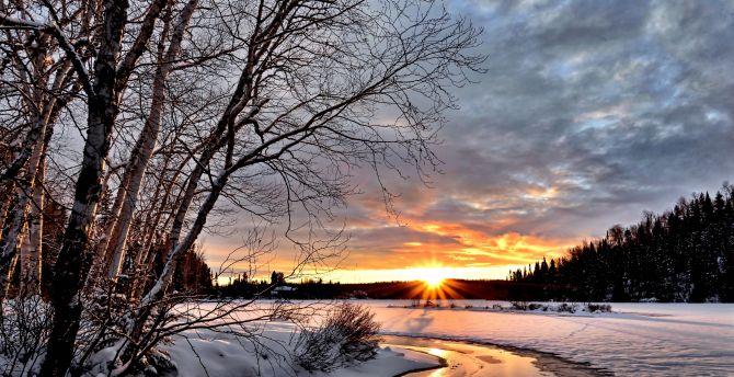 Winter, landscape, twilight wallpaper