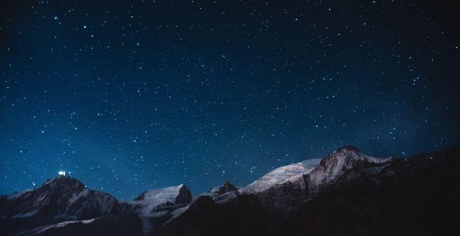 Night, mountains, stars, nature, sky wallpaper