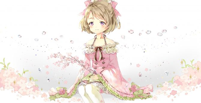 Cute, minimal, Hanayo Koizumi, Love Live!, anime girl wallpaper