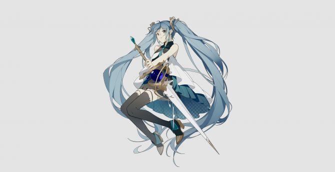 Minimal, Hatsune Miku with sword, artwork wallpaper