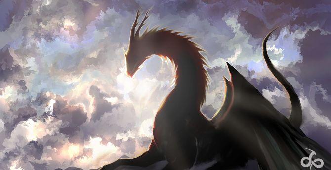 4k Girls Redmi Note 5 Mobile Wallpaper: Desktop Wallpaper Digital Art, Clouds, Dragon, Fantasy, Hd