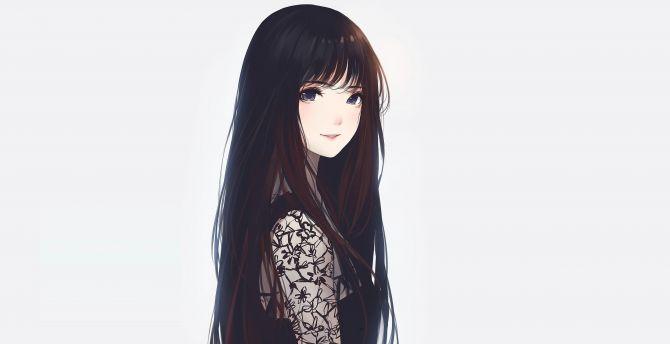 Desktop Wallpaper Cute, Long Hair, Blue Eyes, Anime Girl