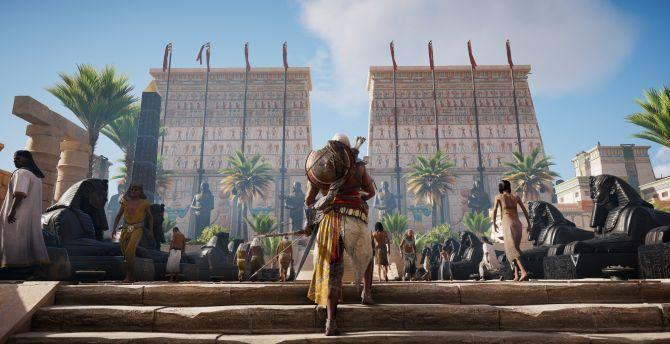 Assassin's Creed: Origins, video game, street, warrior wallpaper