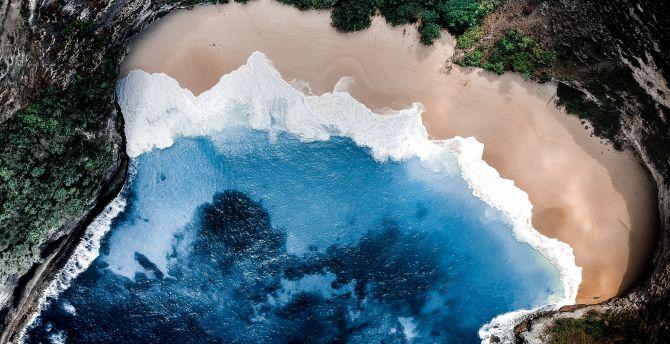 Nature, beach, coast, aerial view wallpaper