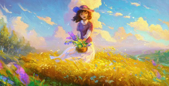 Girl, happy mood, spring, digital art wallpaper