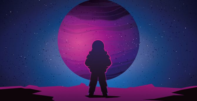 Desktop Wallpaper Astronaut Vaporwave Minimal Space Art Hd Image Picture Background Af240d