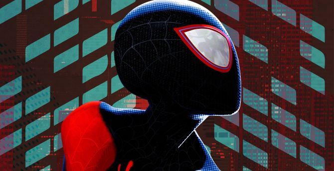 Desktop Wallpaper Miles Morales Black Suit Spider Man Into The