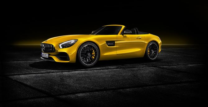 Mercedes-AMG GT S Roadster, side view, 2018 wallpaper