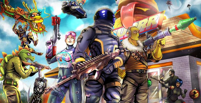 2018, video game, Fortnite, art wallpaper