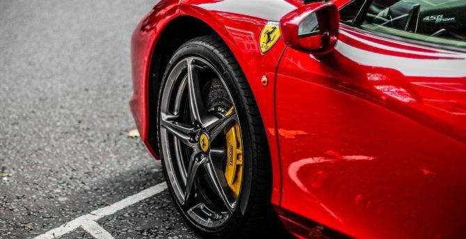 Red supercar, Ferrari, wheel wallpaper