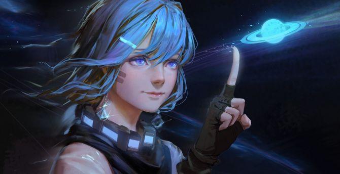 Anime girl, cute, blue eyes, beautiful, original wallpaper