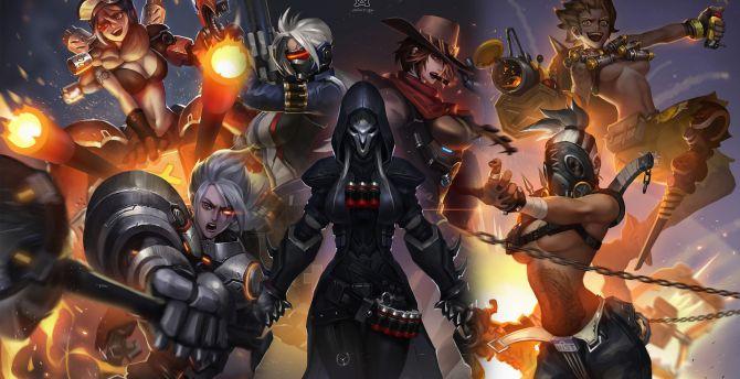 Overwatch, girl warriors, all wallpaper