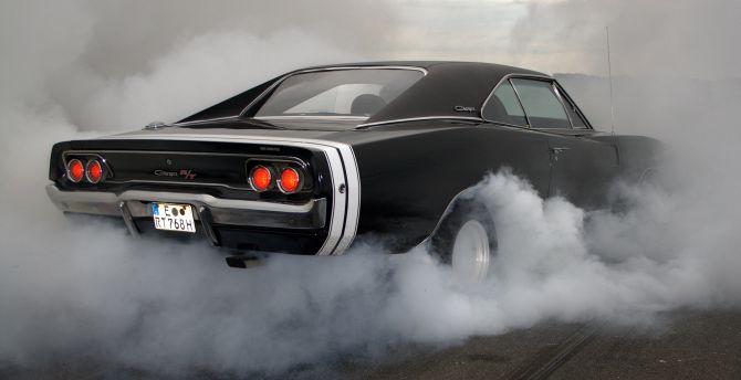 Desktop wallpaper dodge charger r/t, muscle car, rear, smoke, hd ...