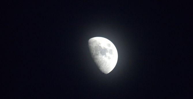 Half moon, night, dark wallpaper