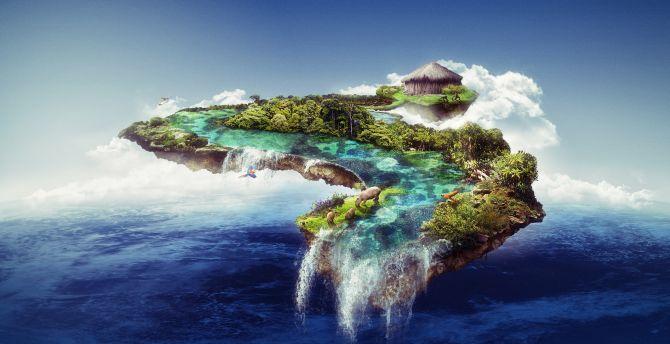 Floating island, waterfall, clouds, wildlife, sea, fantasy wallpaper