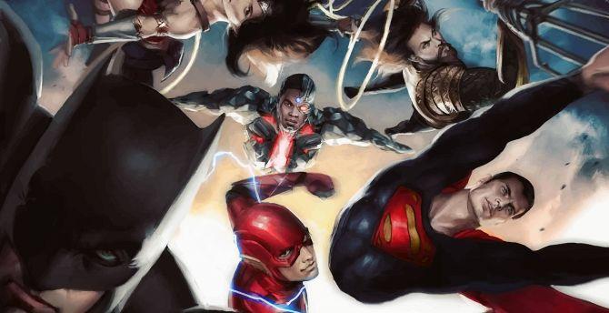 Justice league superheroes art 4k