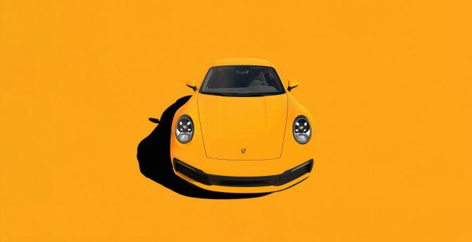Desktop Wallpaper Porsche 911 Yellow Sportcar Minimal Hd Image Picture Background B57283