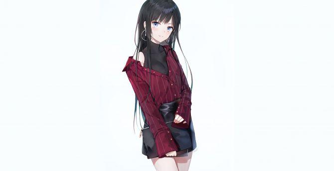 Original, anime girl, cute, smile wallpaper