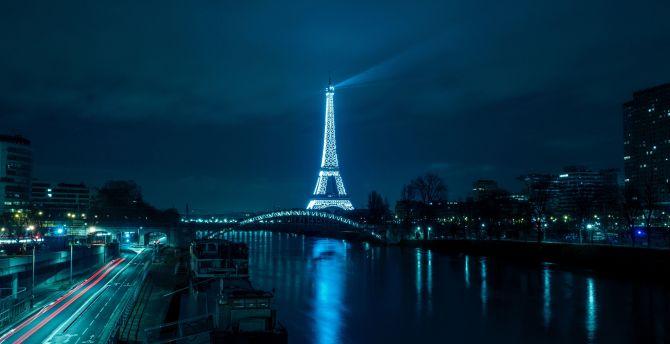 Paris Eiffel Tower Night City Wallpaper