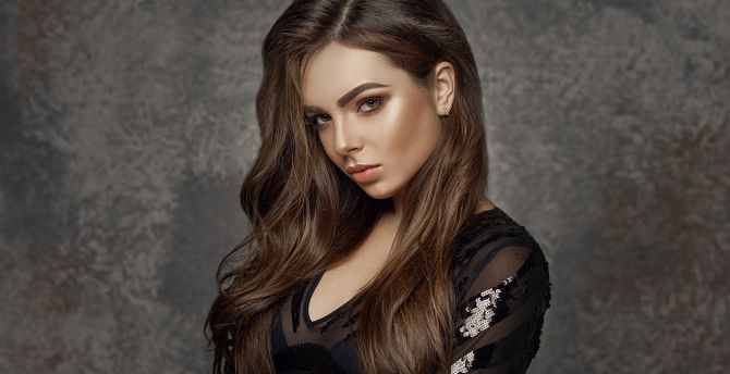 Woman, black dress, portrait wallpaper