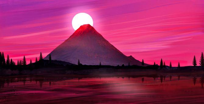 Desktop Wallpaper Japan Mountain Silhouette Minimal Art Hd Image Picture Background B7fd92