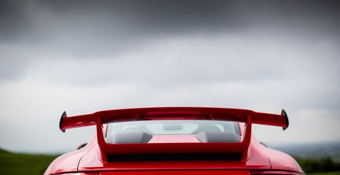 2018 Porsche 911 GT3, rear view, red car wallpaper