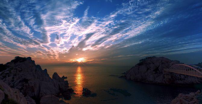 Beautiful sunrise, blue sky view, coast wallpaper