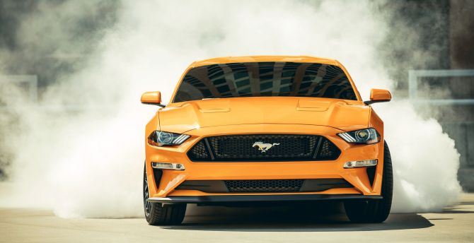 2018 Ford Mustang - GT Fastback, sports car, smoke wallpaper