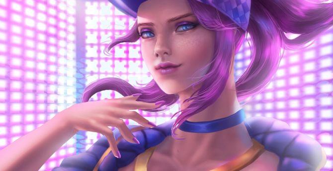 Desktop Wallpaper Akali Violet Hair Beautiful Kda Art
