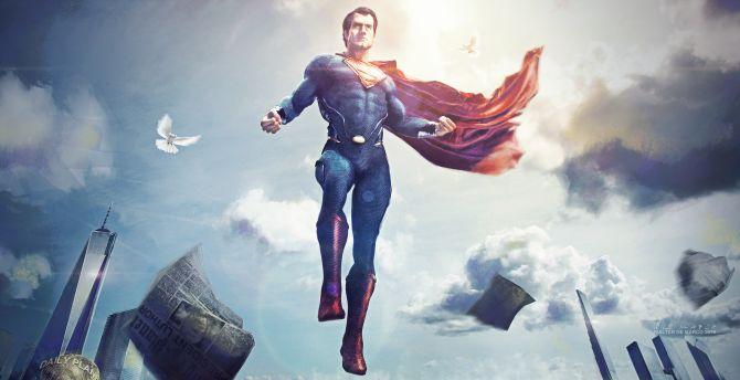 Superman, flight, superhero, dc, art wallpaper
