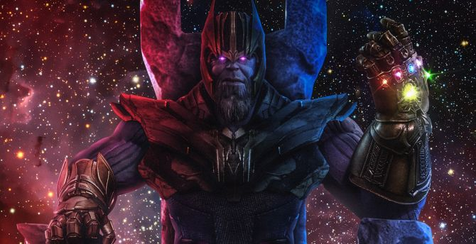 Thanos, Infinity Gauntlet, Avengers 4, movie, fan art wallpaper