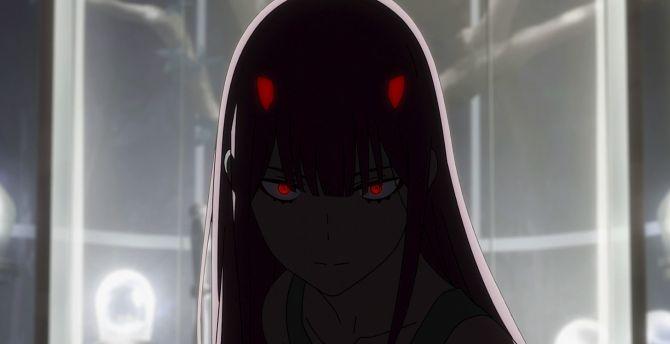 Desktop Wallpaper Dark Red Eyes Zero Two Anime Girl Hd Image Picture Background Bce965