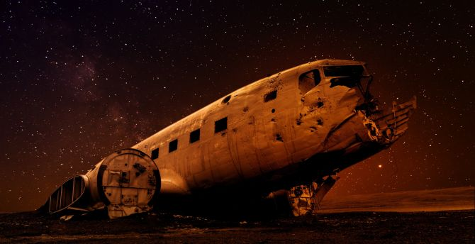 Must see Wallpaper Night Airplane - starry-night-wreck-airplane-landscape  Picture.jpg