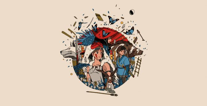 Minimal, anime, princess mononoke wallpaper