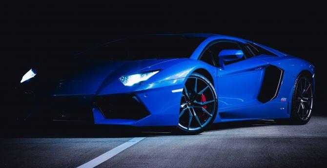Desktop Wallpaper Sports Car Blue Lamborghini Hd Image Picture Background C090dd