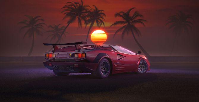 Desktop Wallpaper Retrowave Outdrive Car Sunset Artwork Hd
