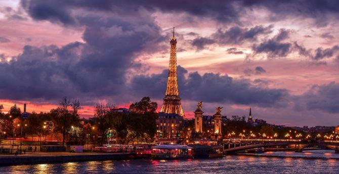 Eiffel tower, night, city, Paris, clouds wallpaper