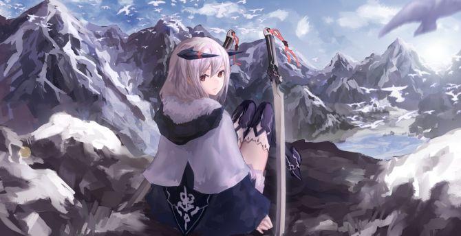 Warrior, anime girl, artwork wallpaper