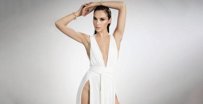 Arms up, photoshoot, white dress, Gal Gadot wallpaper