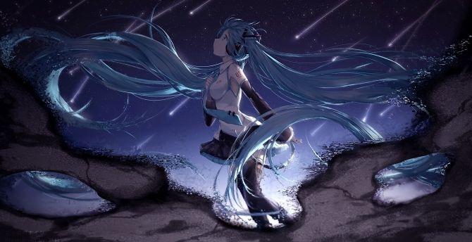 Hatsune miku, long hair anime girl, anime wallpaper