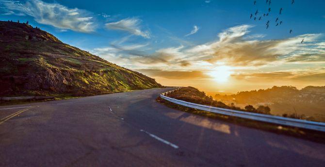 Mountains highway sunset birds
