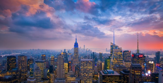 Desktop Wallpaper Evening Clouds Sunset New York Cityscape Hd Image Picture Background C97611