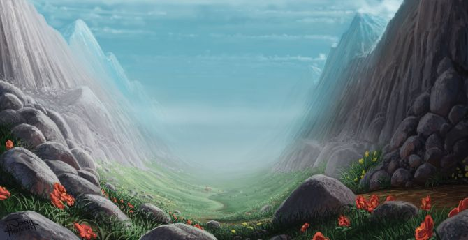 Valley, mountains, art, fantasy wallpaper