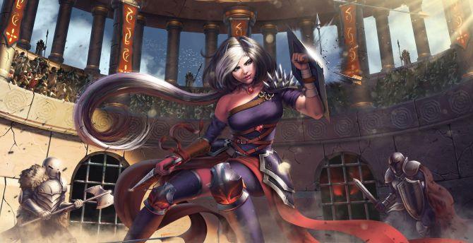 Women, gladiator, warrior, attack wallpaper
