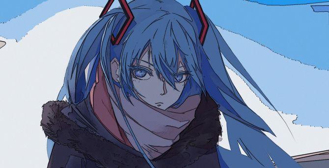 Artwork, blue hair, vocaloid, hatsune miku wallpaper