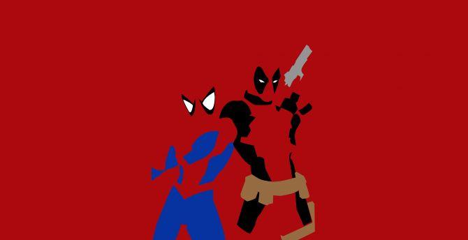 Spider Man And Deadpool Superheroes Minimalism Wallpaper