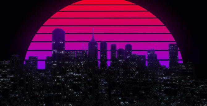 Desktop Wallpaper Moon Cityscape Skyscrapers Skyline